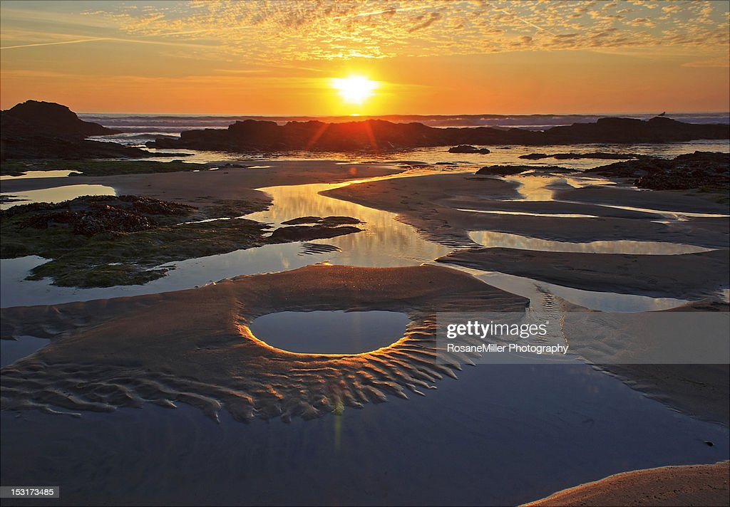 Sunset over rock pools : Stock Photo