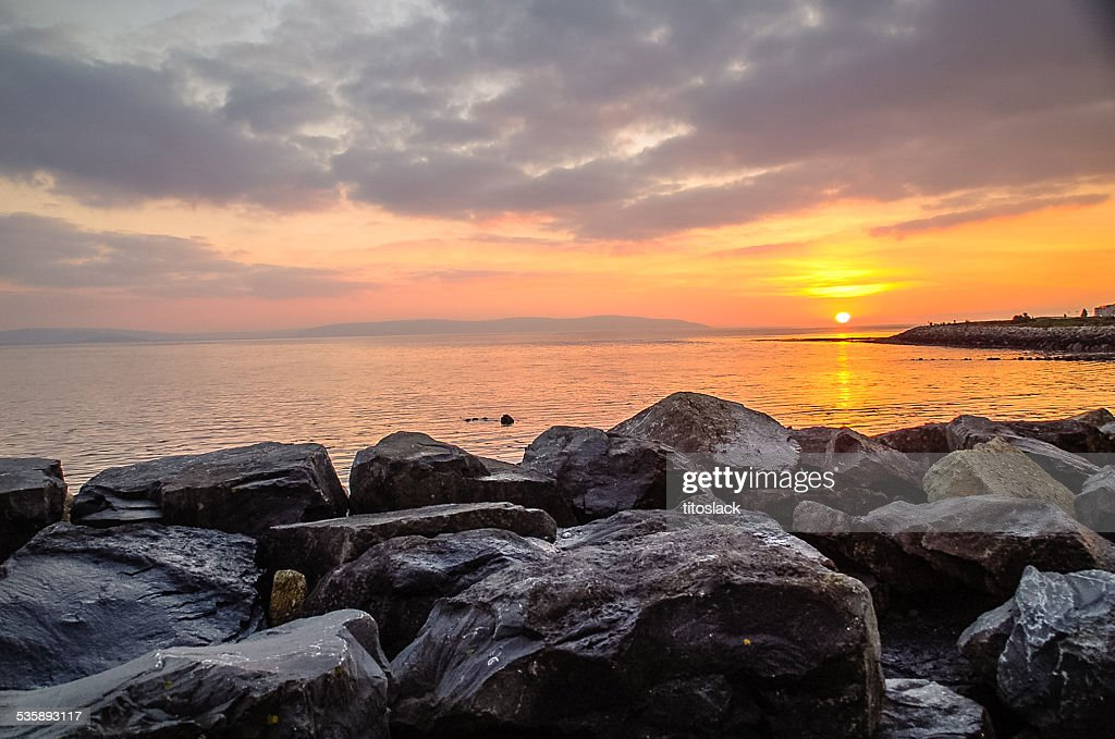 Sunset over Salthill,Ireland : Bildbanksbilder