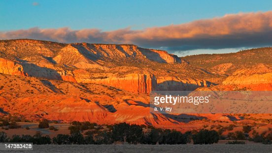 Sunset over sandstone at Ghost Ranch
