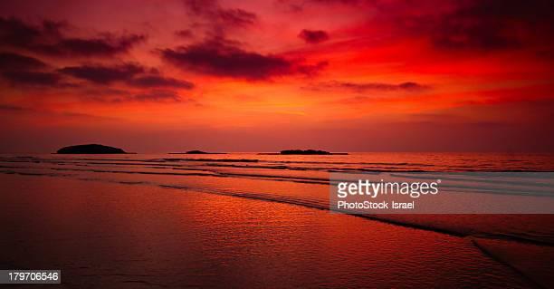 Sunset over sea, Kibbutz Maagan Michael, Israel