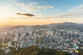 Sunset over Seoul skyline