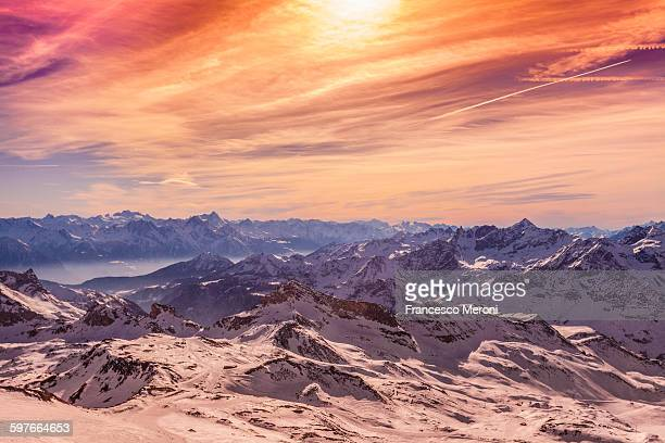 Sunset over snow covered mountains, Cervinia, Italy
