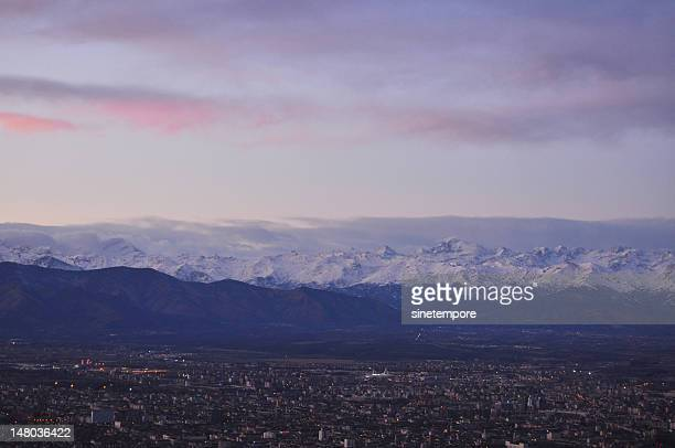 Sunset over snowy Alps