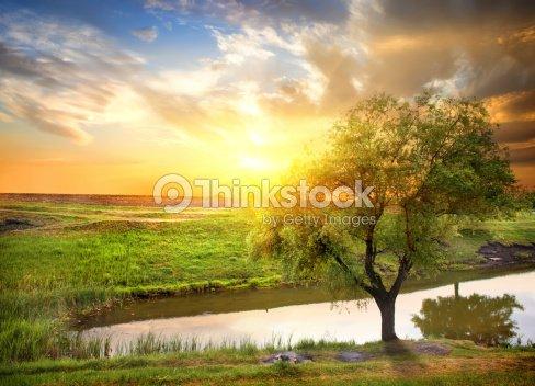 coucher de soleil sur la rivi 232 re de printemps photo thinkstock