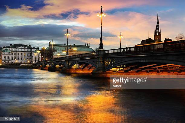 Sunset over Stockholm city bridge