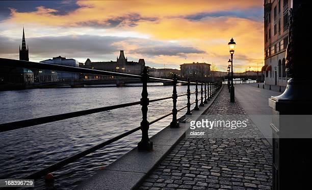 Sunset over Stockholm city
