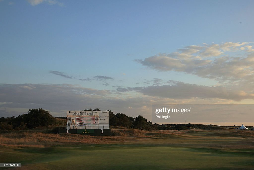 Sunset over the 18th green after the second round of The Senior Open Championship played at Royal Birkdale Golf Club on July 26, 2013 in Southport, United Kingdom.