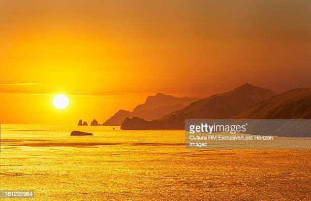 Sunset over the Amalfi Peninsula and the Island of Capri, Campania, Italy