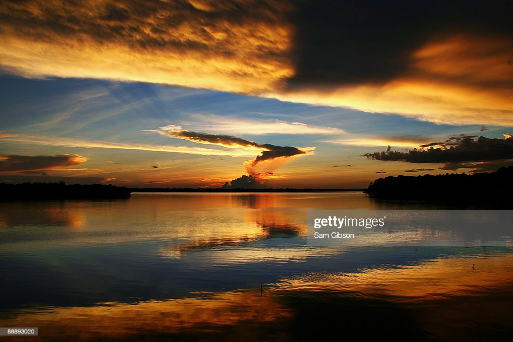 A sunset over the Amazon river