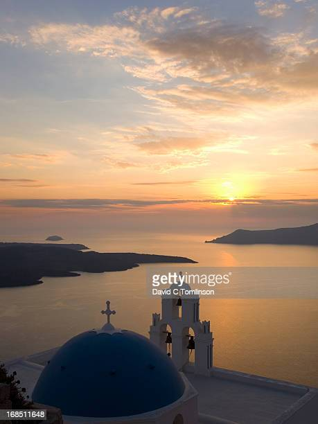 Sunset over the caldera, Fira, Santorini, Greece
