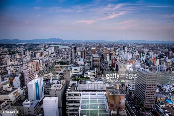 Sunset over the city of Okayama, Japan
