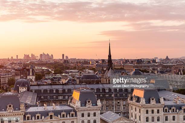 Sunset over the city of Paris, France.