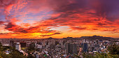 Sunset over the city of Seoul