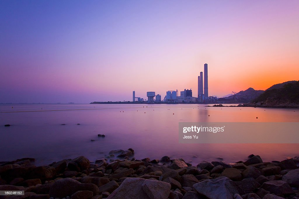 Sunset over the coast in Hong Kong