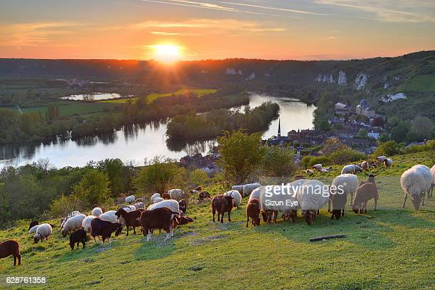 Sunset over the meanders of Seine River in Normandy near Chateau Gaillard, France.