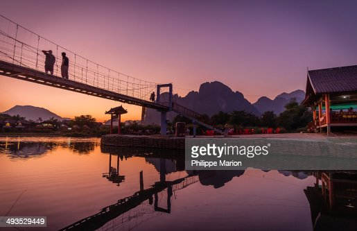 Sunset over the Nam Song River in Vang Vieng, Laos