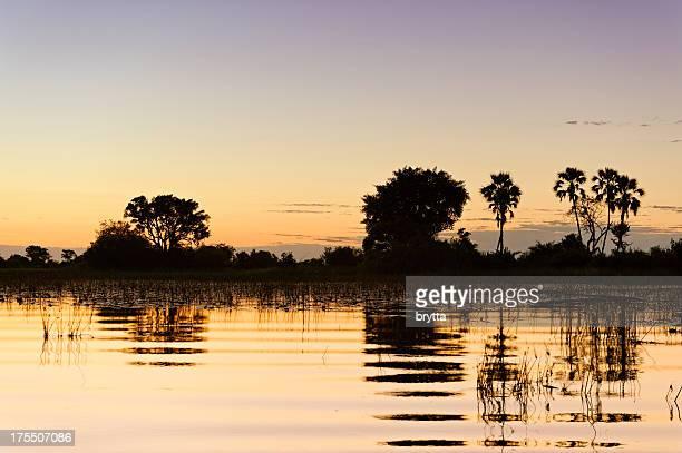 Sunset over the Okavango Delta, Xigera Concession,Botswana