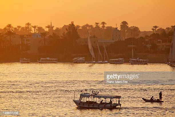 Sunset over the river Nile at Luxor, ancient Thebes.