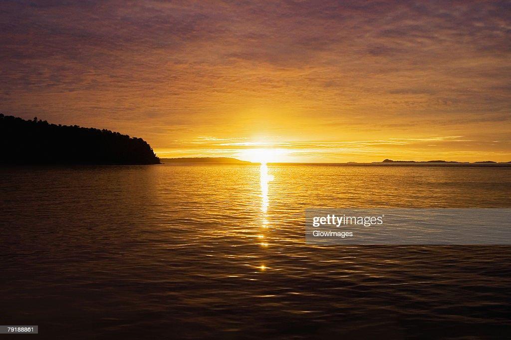 Sunset over the sea, Bangka Island, Sulawesi, Indonesia : Stock Photo