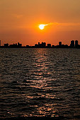Sunset over the sea, Chicago, Illinois, USA