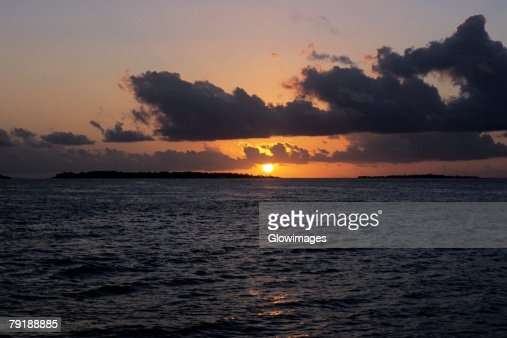 Sunset over the sea, Indian Ocean, Maldives : Foto de stock