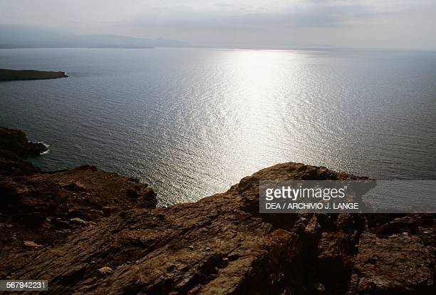 Sunset over the sea Kalamaki Crete Greece