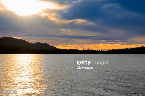 Sunset over the sea, Lembeh Strait, Sulawesi, Indonesia : Stock Photo