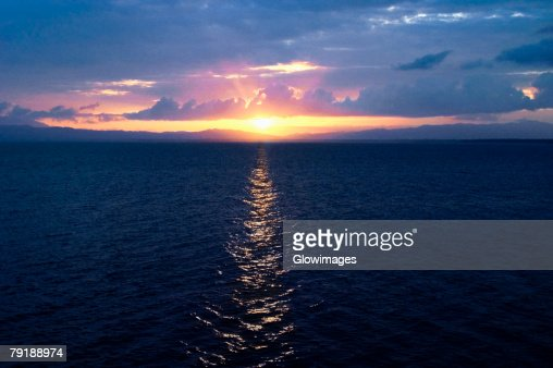 Sunset over the sea, Milne Bay, Papua New Guinea : Foto de stock