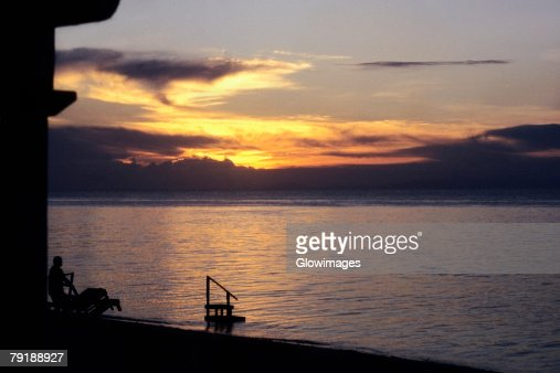 Sunset over the sea, Sipadan, Borneo, Malaysia : Foto de stock