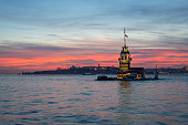 Sunset over the sea sky Maiden's tower