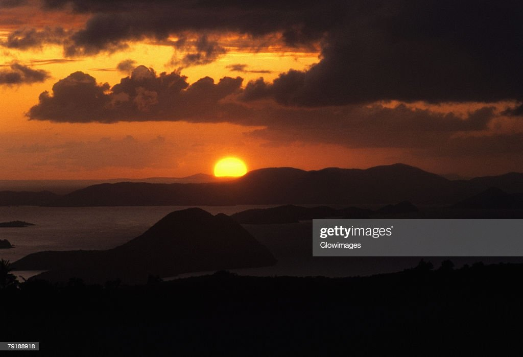 Sunset over the sea, West End, Tortola, British Virgin Islands : Foto de stock