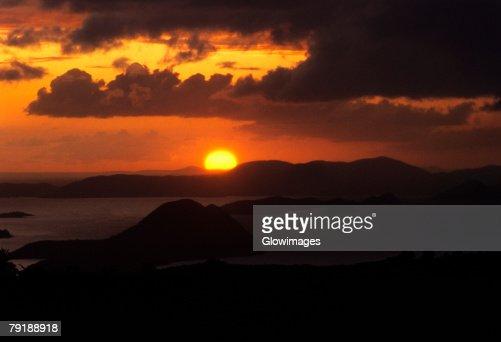 Sunset over the sea, West End, Tortola, British Virgin Islands : Stock Photo