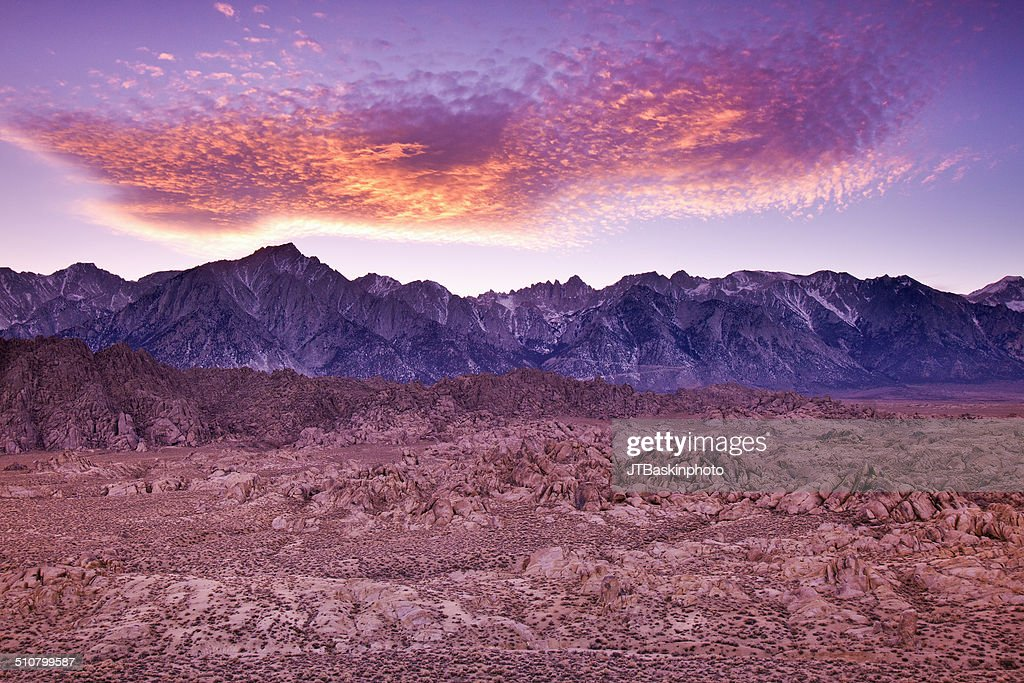 Sunset over the Sierras from Alabama Hills
