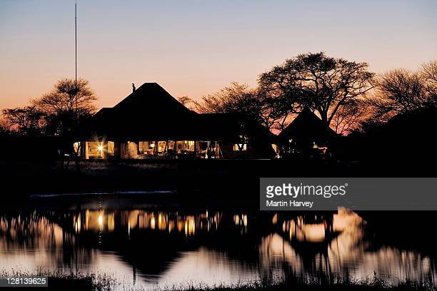 Sunset over the Villa in Okonjima Private Game Reserve, Namibia. Africa (PR: Property Released)