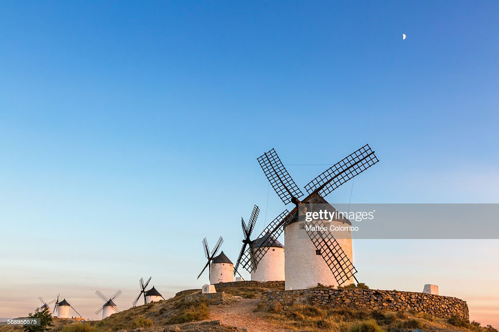 Sunset over the windmills of Dox Quixote, Spain