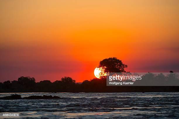 Sunset over the Zambezi River near Livingston in Zambia