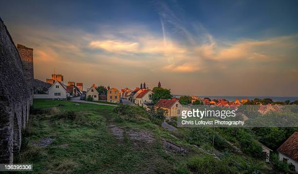 Sunset over Visby city