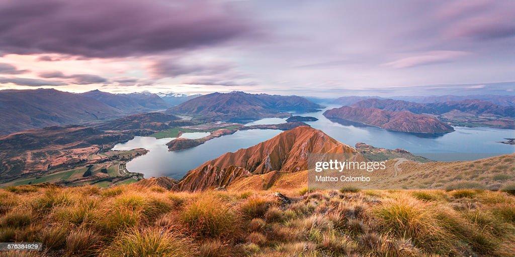 Sunset over Wanaka lake and mountains, New Zealand