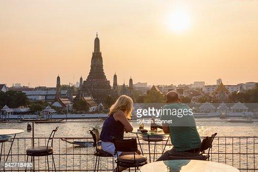 Sunset over Wat Arun Temple