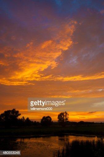 Sunset over Wiślica, Ponidzie, Poland : Stock Photo