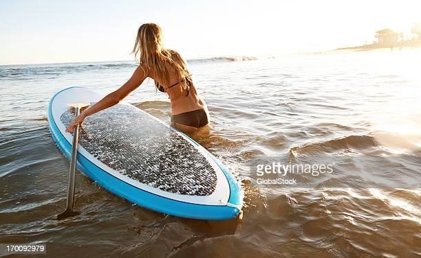 Coucher du soleil de paddle