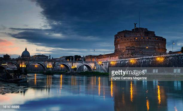 Sunset panorama across the Tiber River to Castel Sant'Angelo in Rome taken on May 13 2012 The Castel is well known as the mausoleum of the Roman...