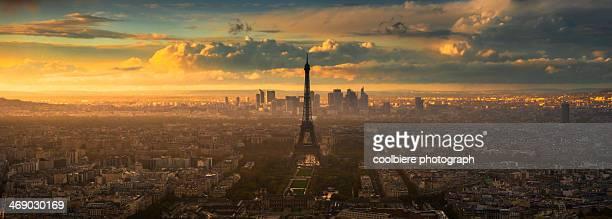 Sunset Panorama view of Paris