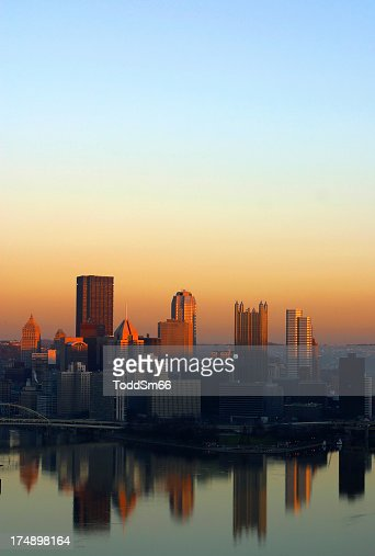 Sunset portrait shot of Pittsburgh city scape
