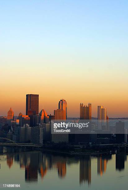 Sunset portrait shot of Pittsburgh city scape