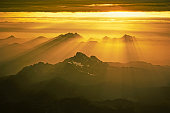 Sunset rays over the North Cascade Mountain Range
