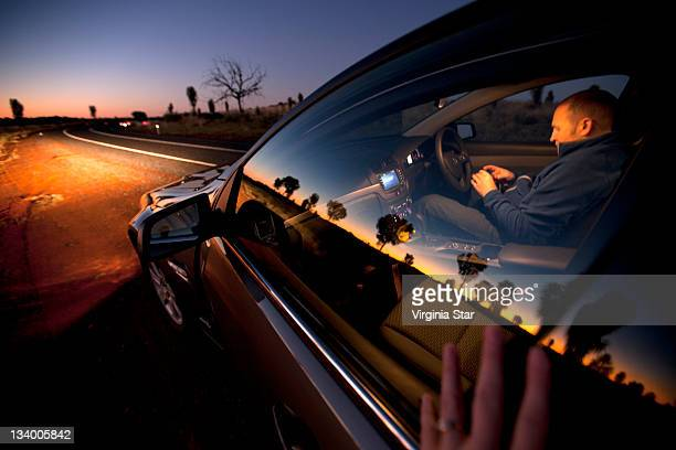 Sunset Reflected In Car Window Australia