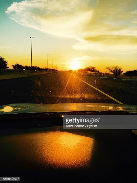 Sunset Seen Through Car Window On Street