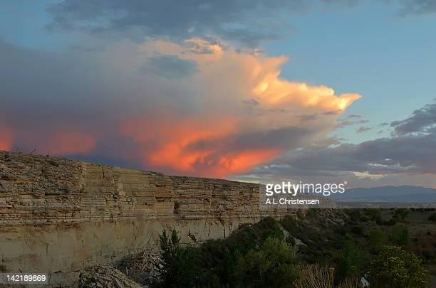 Sunset storm and rock ledge