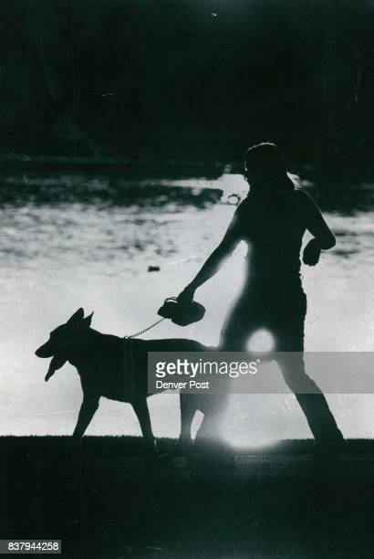 Sunset Stroll Young woman shoes in hand walks her dog late Tuesday afternoon beside City Park Lane as cooling way to end day that saw the mercury...